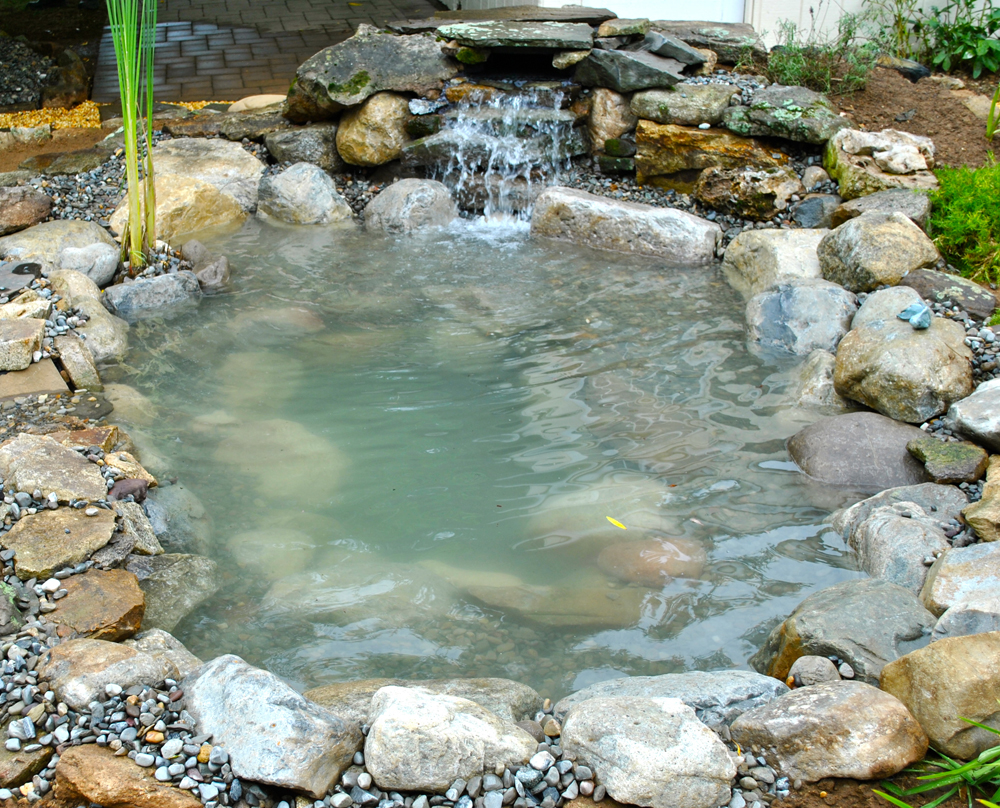 Backyard pond pondless waterfall and water garden kits for Fish pond materials